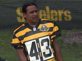 Here's Troy Polamalu. Of course, he looks good in pretty much anything.