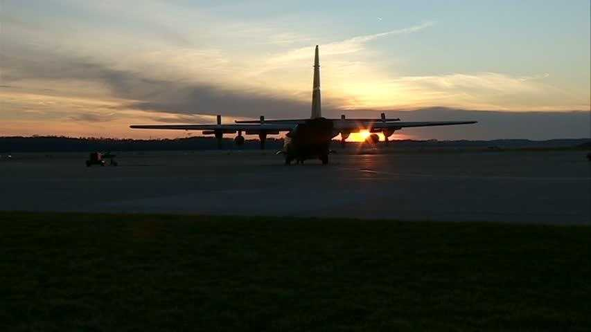 A C-130H prepares to taxi down the runway before a training flight.