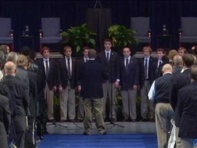 The Penn State Glee Club performs at Joe Paterno's memorial