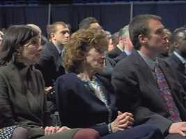 Sue Paterno, with family members at Joe Paterno's memorial service.