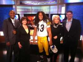 A Troy Polamalu wax statue on the set of WTAE Channel 4 Action News.