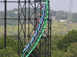 Although the first hill is only 161 feet high, the second hill drops riders 232 feet into a ravine.