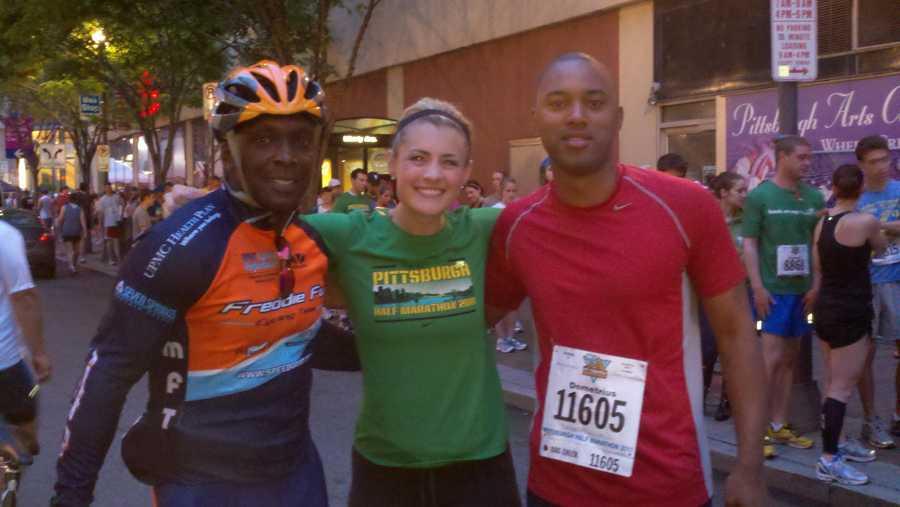 Sheldon Ingram, Janelle Hall and Demetrius Ivory at the Pittsburgh Marathon