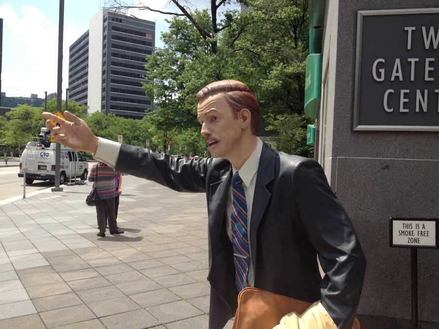 The sculptures are on loan to the city from J. Seward Johnson, of The Sculpture Foundation.