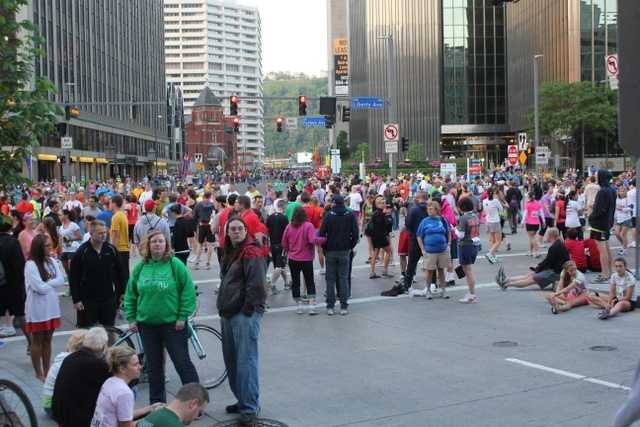Over 25,000 people took part in the 2012 Pittsburgh Marathon on Sunday in very warm weather conditions. This was the scene in downtown Pittsburgh around 7 a.m. Sunday morning. Scroll through this slideshow for photos from the course. You can also look through photos sent in by other WTAE.com users.