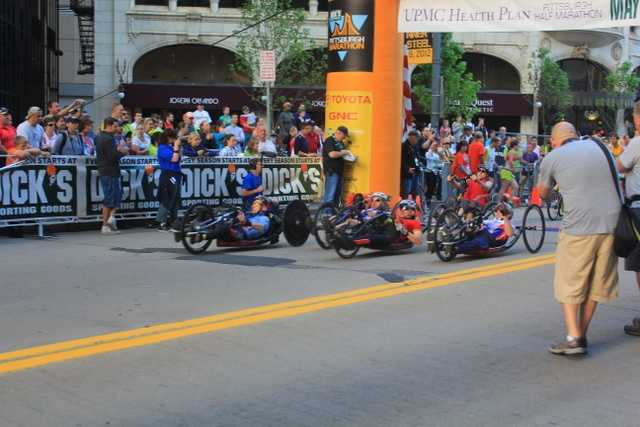 The handicapped bike racers are off!