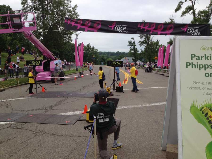 Mark Grogan approaches the finish line in first place.