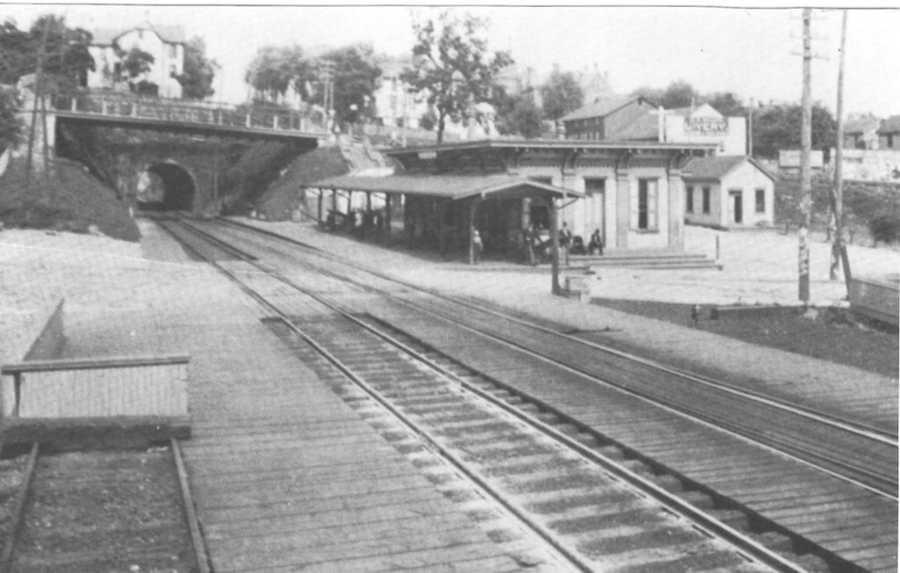 This shot taken prior to 1910 shows the original Pennsylvania Railroad Station in Greensburg.