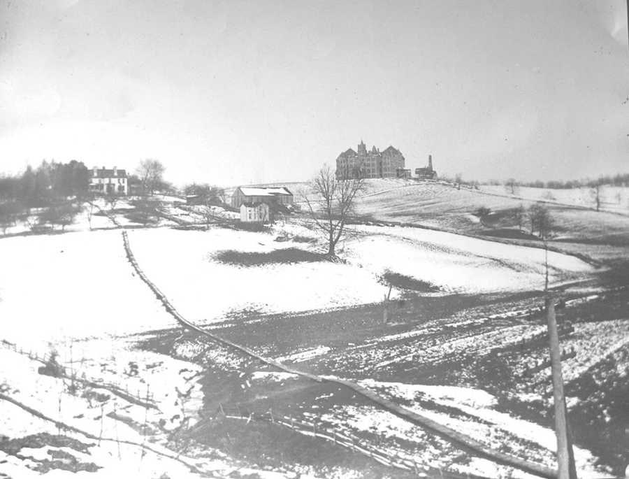 This photo taken after a snowfall shows Seton Hill College and Mudville below.