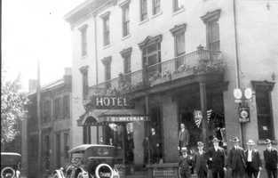 The Hotel Zimmerman in Downtown Greensburg. The site would later be home to Troutman's Department Store.
