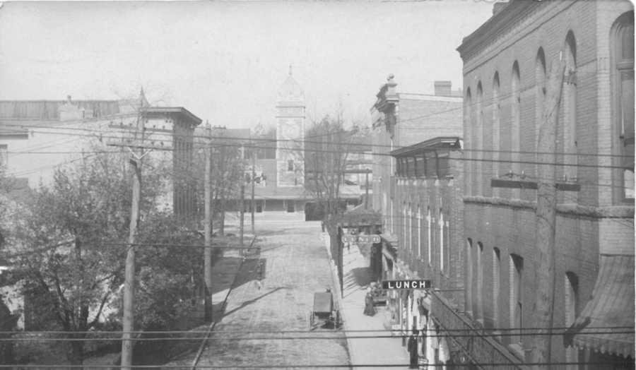 West Otterman Street looking north toward the Pennsylvania Railroad Station