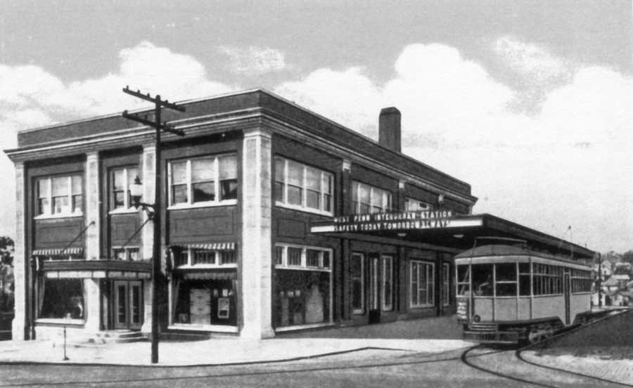 Greensburg City Hall moved to this location along South Main Street in 1954, formerly West Penn Interurban station from 1927.
