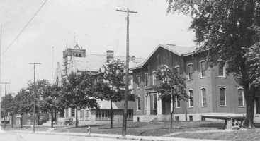 The old red school (1862-1924) and new high school (built 1897) on the site of Greensburg Academy.