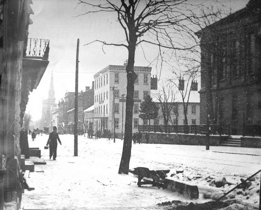 Many businesses and inns flourished within Downtown Greensburg for many years. This is a picture from 1900 of Main St. looking south past the Courthouse and Fisher House.
