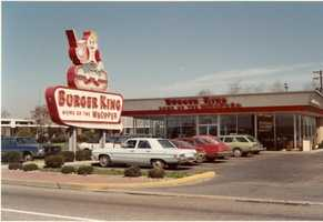 1970 - Check out the old-fashioned Burger King sign that was part of this fast-food restaurant on Route 22.