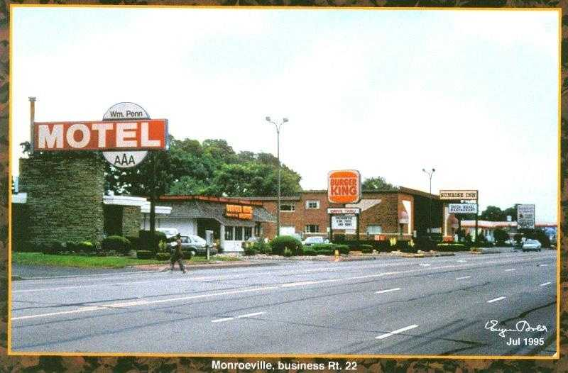 July 1995 - Route 22 in Monroeville, still with Burger King and William Penn Motel in the location.