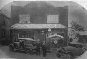 William Wright and Lester Finch pose for a photo in front of Wright Auto Service along Hilda Street, near the top of Brushton Avenue in 1931. It was one of the first independent auto repair shops in Penn Hills.