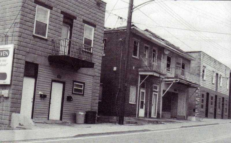 The buildings located along Main Street in the Universal section of Penn Hills. The buildings were constructed of cement blocks from the local Universal Atlas Cement Company.