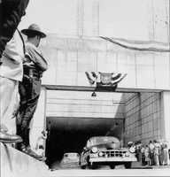 The first vehicles pass through the Squirrel Hill Tunnel in a dedication ceremony held on June 5, 1953.