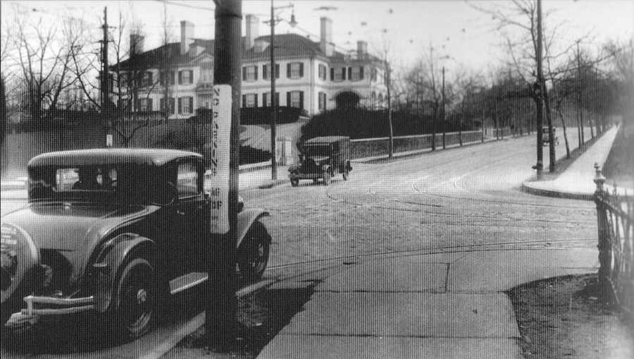1933: The intersection of Fifth and Shady Avenues. The large home on the left was home to Charles D. Marshall. The Georgian-style home was built in the early 1910s. It was donated to the City of Pittsburgh in 1945.