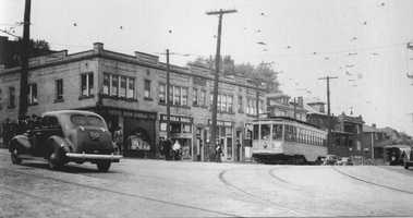 """The intersection of Hazelwood and Murray Avenues during the 1930s/1940s. The older images in this slide show are from the book """"Squirrel Hill"""" prepared by the Squirrel Hill Historical Society and published by Arcadia Publishing. The full book may be purchased through Arcadia on their website."""