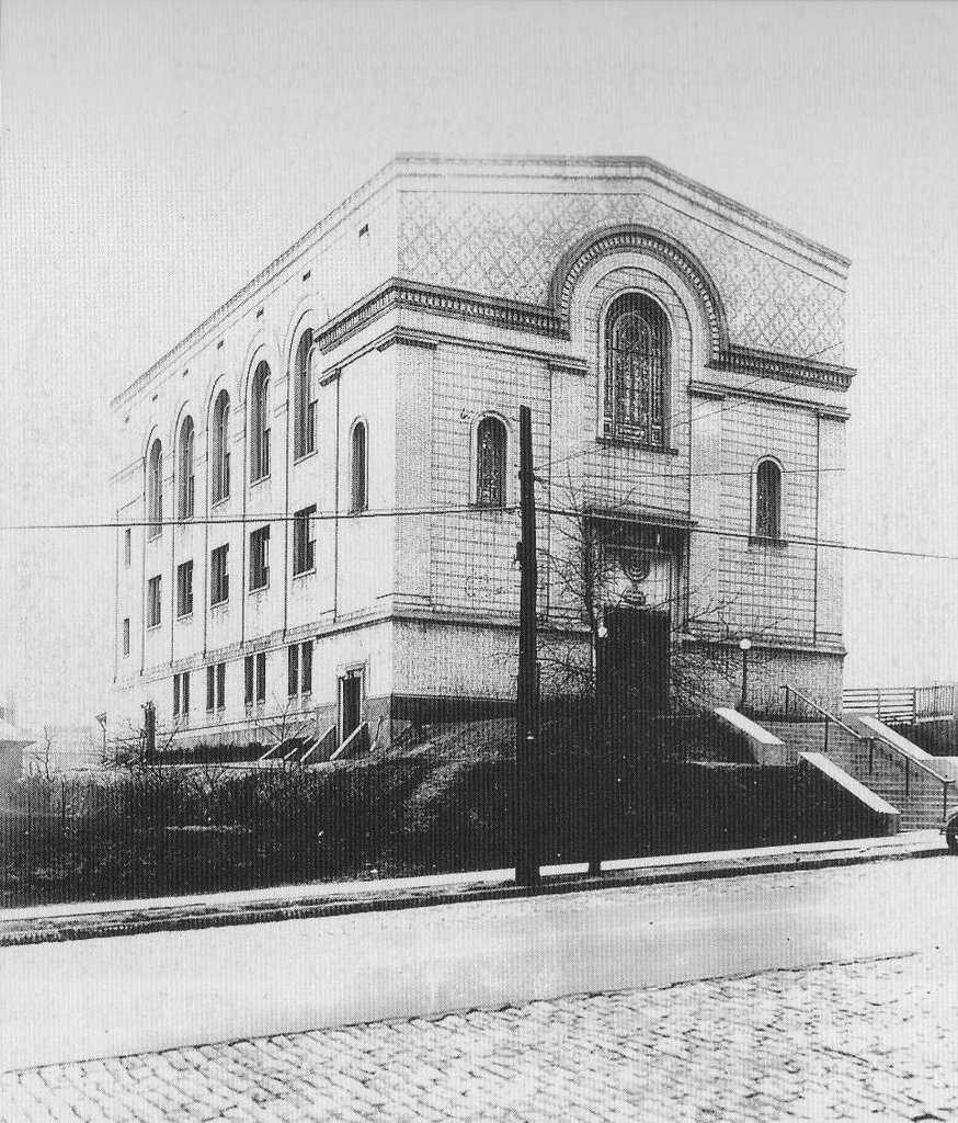 The Beth Shalom at the corner of Shady Avenue and Beacon Street. The Conservative congregation was established in 1918 by a group of eastern European Jews.  The Squirrel Hill Congregation moved into this location in 1922.