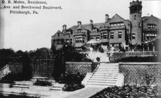 Not far from that intersection, was the home of Richard Beatty Mellon at 6500 Fifth Avenue. This postcard shows the 60+ room mansion as it looked in 1915. The mansion was built between 1907 and 1909 by the same architects who designed many of the buildings in Pittsburgh.