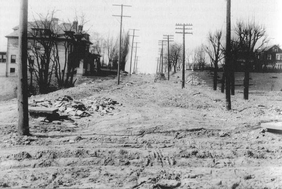 """Phillips Avenue seen in this photo taken from Murray Avenue looking east toward Shady Avenue. The residential development had just begun at this time. The older images in this slide show are from the book """"Squirrel Hill"""" prepared by the Squirrel Hill Historical Society and published by Arcadia Publishing. The full book may be purchased through Arcadia on their website."""
