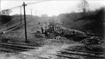 October 1908: Midway Street at Murray Avenue, looking east. This location is in the area where the Morrowfield Hotel now stands.