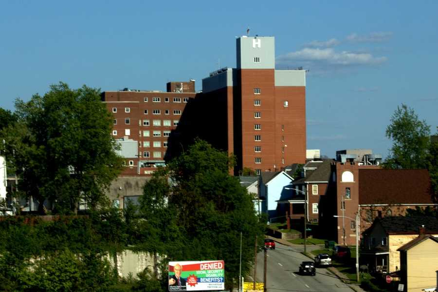 The hospital can be seen from several miles away in some parts of the city.