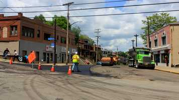 This is a similar perspective in the year 2012, looking north on Murray Avenue. The road was closed for construction at the time this photo was taken.