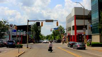 The intersection of Forbes Ave. and Shady Ave. has changed significantly over the years. This is the view looking down Forbes Ave. west toward Murray Ave. in 2012.