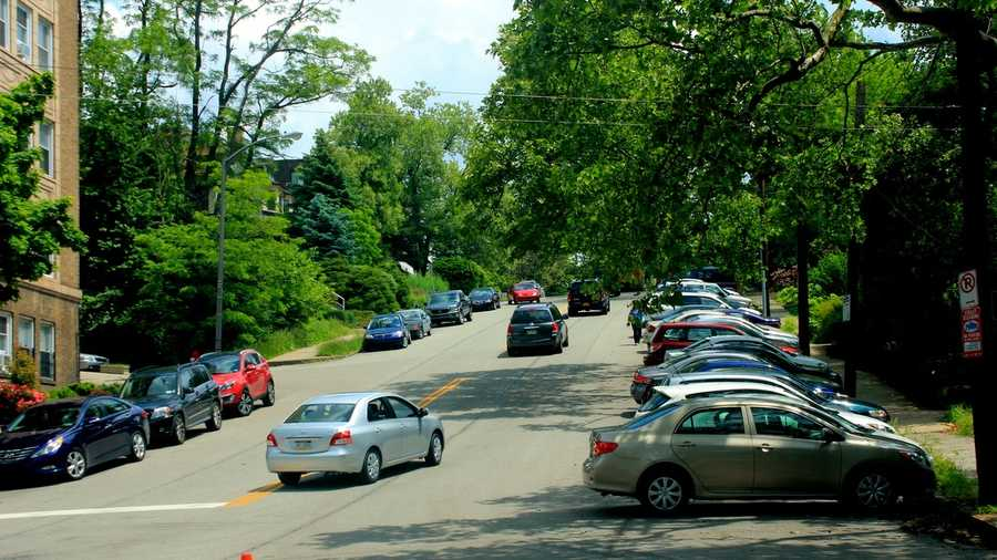 Replacing Midway Street is Morrowfield Avenue. This is the view looking east toward Shady Avenue.