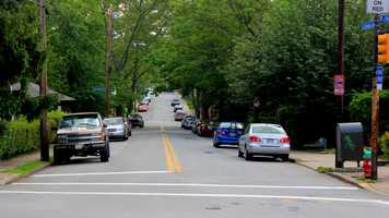 The same perspective in 2012. Many trees have grown down S. Negley Avenue providing shade for the area.