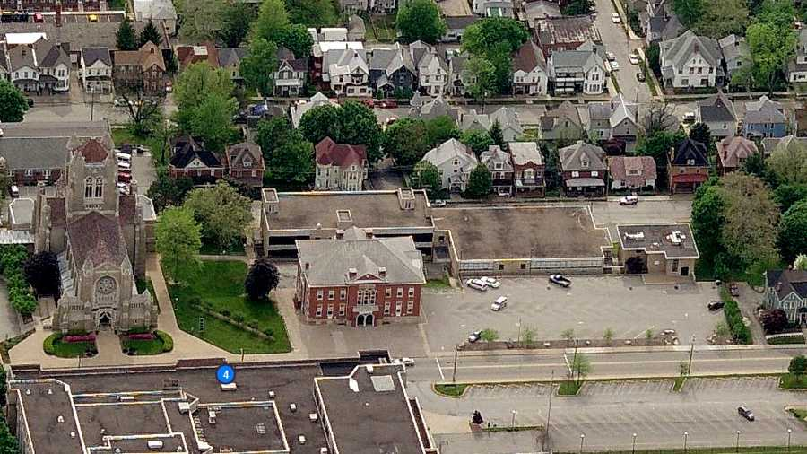 An overhead shot of the current Greensburg Aquinas Academy on North Main Street.