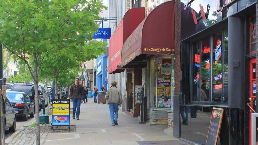 A view of the businesses along Forbes Avenue today. This is looking east between Murray Avenue and Shady Avenue.