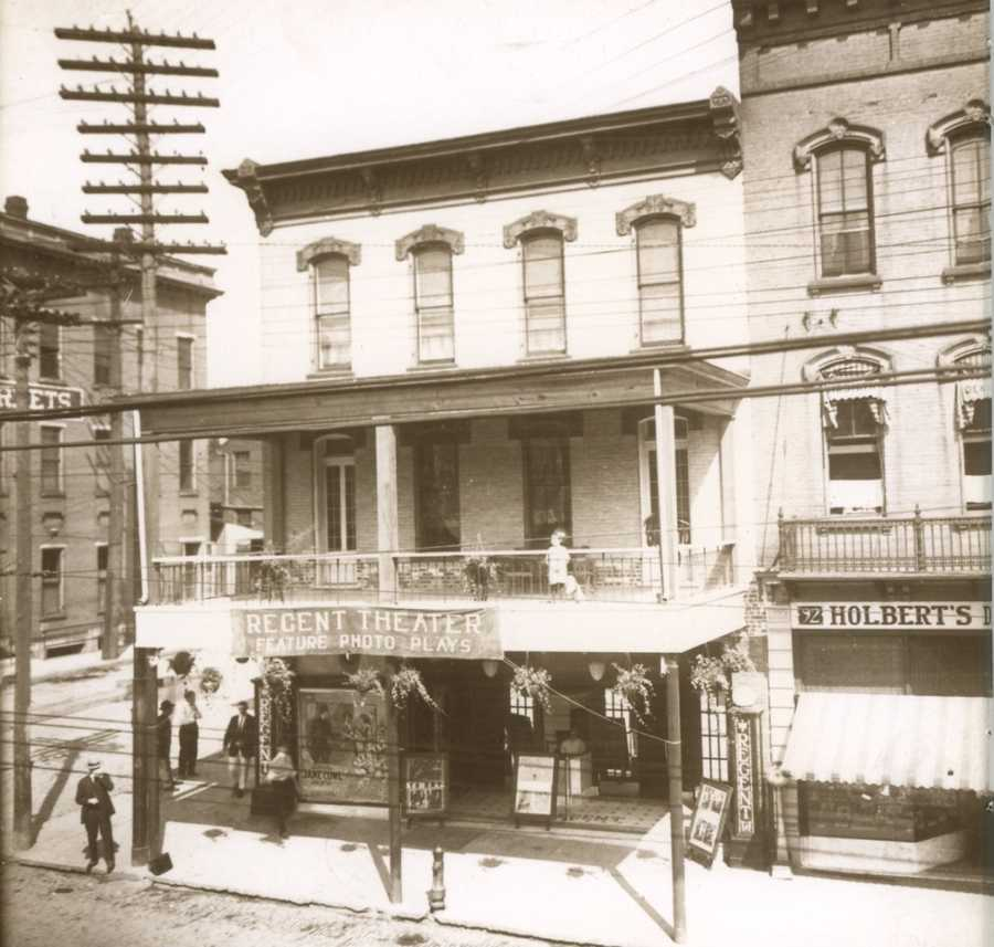 The Regent Theatre building was built in 1866 by Samuel Hazlett Jr. In 1900 Michael Connor bought it and opened a restaurant. In 1915 in was renamed the Regent Theater and the balcony was added. - North Main Street