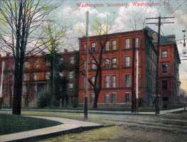 """The Washington Female Seminary was s school started by Francis LeMoyne in 1836 with its purpose being to """"educate the young women of this area."""" The front wing of the building was destroyed by fire and the rear wing was torn down by Washington and Jefferson College 2008 to make room for the new Swanson Science Center."""