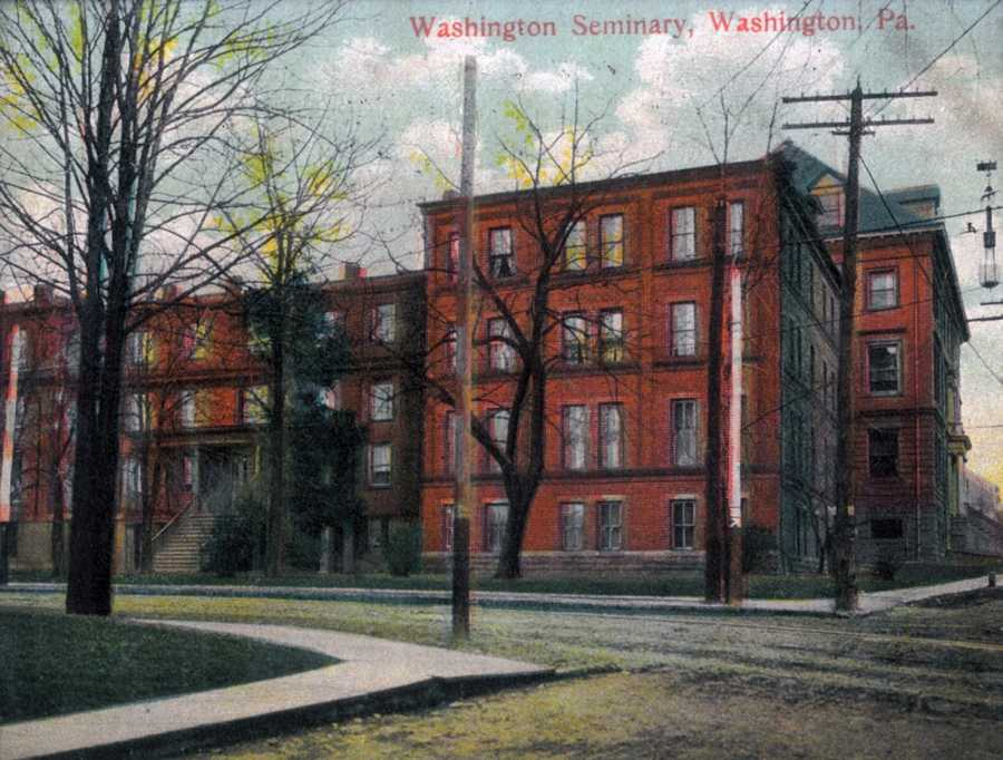 "The Washington Female Seminary was s school started by Francis LeMoyne in 1836 with its purpose being to ""educate the young women of this area."" The front wing of the building was destroyed by fire and the rear wing was torn down by Washington and Jefferson College 2008 to make room for the new Swanson Science Center."