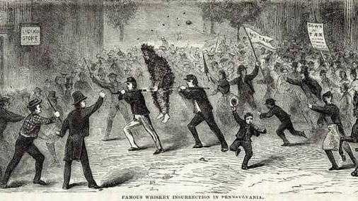 This is an illustration of the whiskey insurrection in Pennsylvania by R. M. Devens.