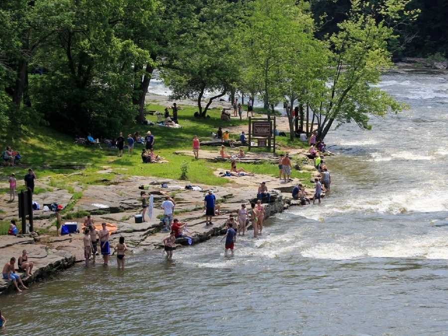 On a warm weekend, you'll find dozens of folks enjoying the cooler air of the Laurel Mountains, and the cool water of the Yough river.