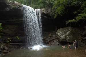 The 40 ft tall waterfall is located in a cucumber shaped canyon just off the Youghiogheny River.