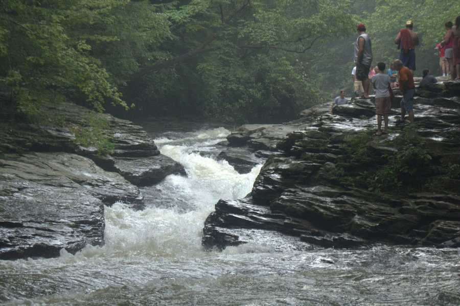 When the water level is high, one can ride almost 100 feet down the water slide.VIDEO: Take a tour of Ohiopyle's water slide.