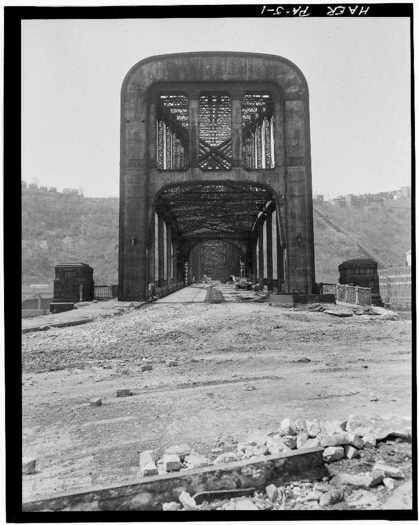 April 1970 - A look at the North Portal of the Point Bridge, Spanning Monongahela River at Point of Pittsburgh