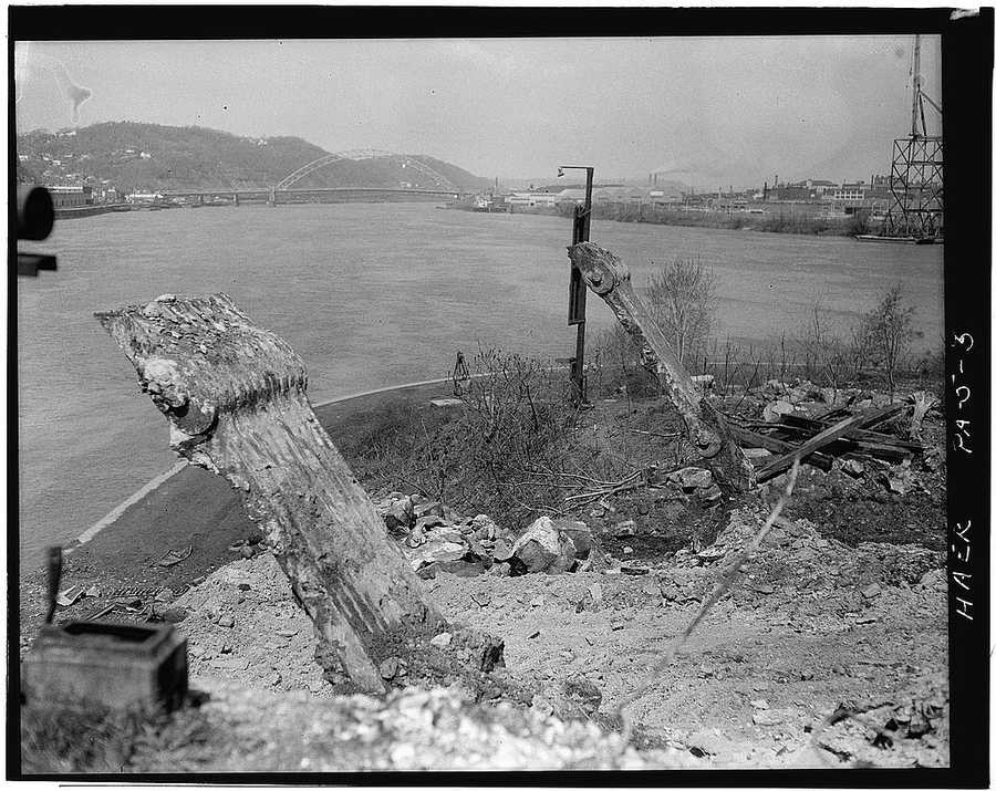 April 1970 - The remains of eye-bars of anchor piers for the first Point Bridge that was demolished in 1927, Spanning Monongahela River at Point of Pittsburgh