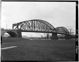 April 1970. View from the southeast - North Side Point Bridge, Spanning Allegheny River at Point of Pittsburgh