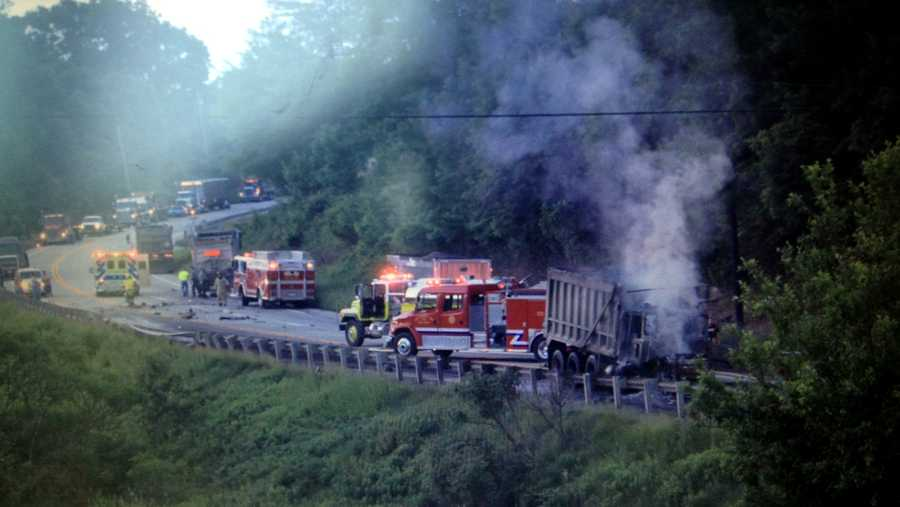 Route 422 in Armstrong County was shut down Tuesday morning after a fatal head-on crash involving two coal trucks and another vehicle.
