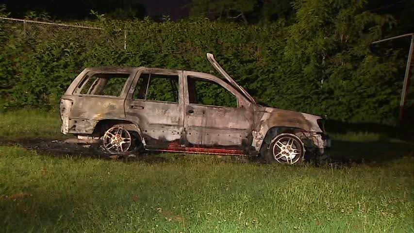 A car caught fire overnight in the middle of a football field in the Lincoln-Lemington section of Pittsburgh.