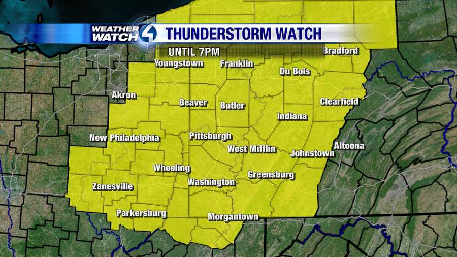 A strong cold front will bring showers and thunderstorms to much of western Pennsylvania. A Severe Thunderstorm Watch is in effect until 7 p.m.