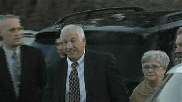 Former Penn State head coach Jerry Sandusky arrived at the courthouse in Bellefonte for his preliminary hearing. His wife was at his side as he walked inside.
